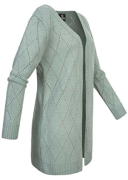 Styleboom Fashion Damen Strickcardigan Rauten Lochmuster jade grün