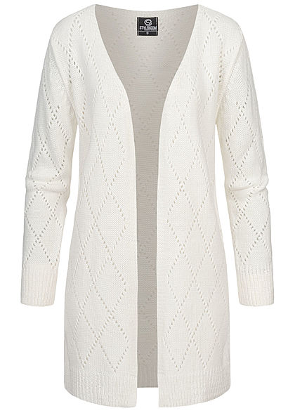 Styleboom Fashion Damen Strickcardigan Rauten Lochmuster off weiss