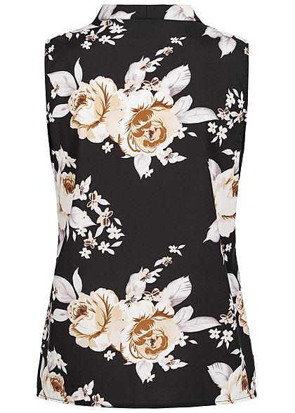 Styleboom Fashion Damen V-Neck Bluse Blumen Print schwarz