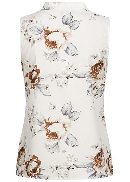 Styleboom Fashion Damen V-Neck Bluse Blumen Print weiss