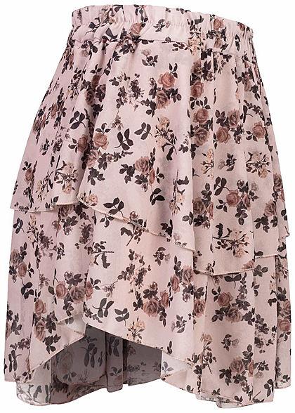 Styleboom Fashion Damen Mini Stufenrock 2-lagig Blumen Muster beige rosa