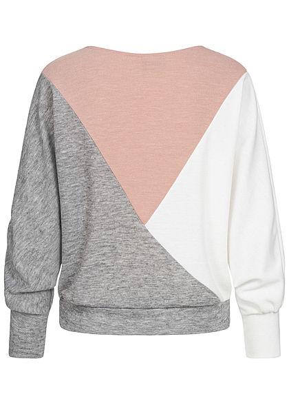 Styleboom Fashion Damen Colorblock Zick Zack Pullover Sweater grau rosa weiss