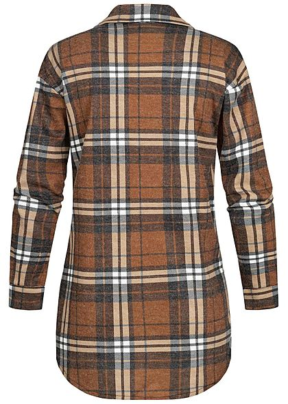 Styleboom Fashion Damen Oversized Winter Flanellhemd Karo Muster braun schwarz
