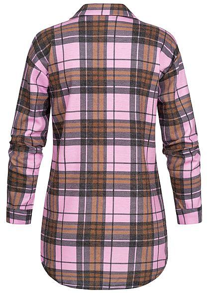 Styleboom Fashion Damen Oversized Winter Flanellhemd Karo Muster pink braun