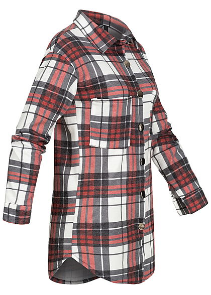 Styleboom Fashion Damen Oversized Winter Flanellhemd Karo Muster weiss rot