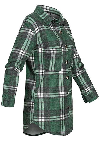 Styleboom Fashion Damen Oversized Winter Flanellhemd Karo Muster grün schwarz