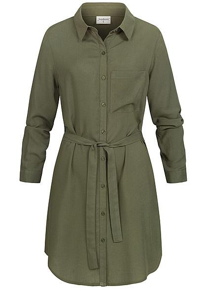 Seventyseven Lifestyle Damen Turn-Up Blusen Kleid inkl. Bindegürtel khaki grün