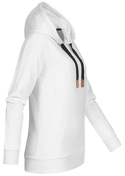 Seventyseven Lifestyle Damen Basic Hoodie Kapuze Tunnelzug mit Logo Kängurutasche weiss