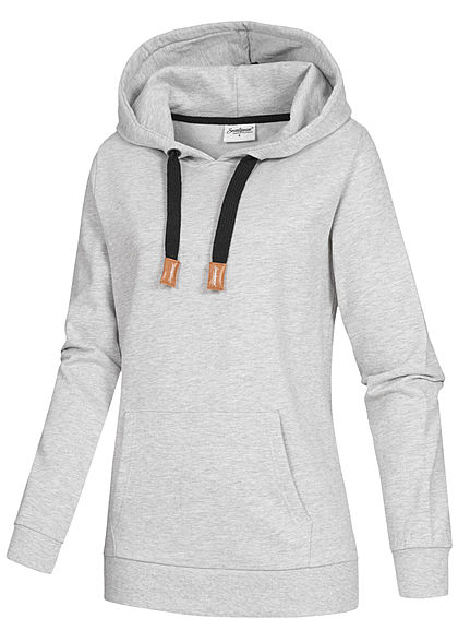 Seventyseven Lifestyle Damen Basic Hoodie Kapuze Tunnelzug mit Logo Kängurutasche grau