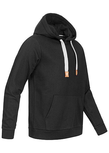 Seventyseven Lifestyle Herren Basic Hoodie Kapuze Tunnelzug mit Logo Kängurutasche schwarz