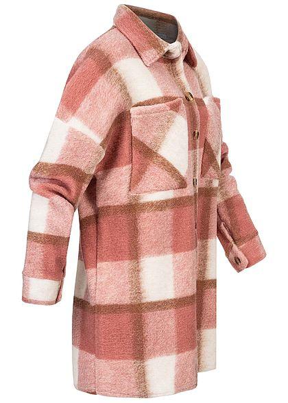 Hailys Damen Oversize Longform Woll Jacke Karo Muster 2 Brusttaschen rosewood rosa