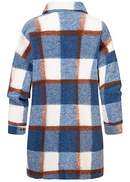 Hailys Damen Oversize Longform Woll Jacke Karo Muster 2 Brusttaschen blau braun