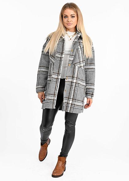 Hailys Damen Oversize Longform Woll Jacke Karo Muster 2 Brusttaschen grau braun