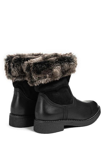 Seventyseven Lifestyle Damen Schuh Materialmix Halbstiefel Kunstfell Boots schwarz