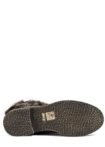 Seventyseven Lifestyle Damen Schuh Materialmix Halbstiefel Kunstfell Boots dunkel grau