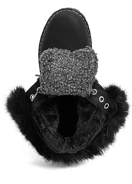 Seventyseven Lifestyle Damen Schuh Worker Boots mit Plüsch Kunstleder Deko Steine schwarz