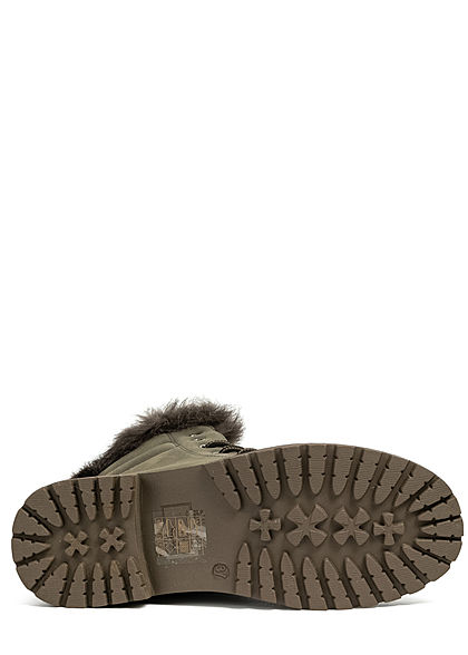 Seventyseven Lifestyle Damen Schuh Worker Boots mit Plüsch Kunstleder Deko Steine oliv