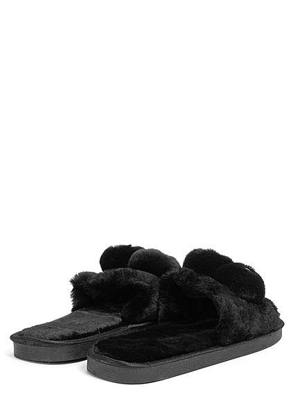 Seventyseven Lifestyle Damen Schuh Plüsch Sandale mit Gesicht schwarz gelb