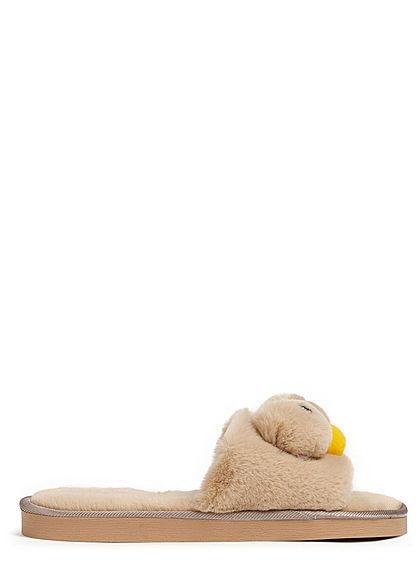 Seventyseven Lifestyle Damen Schuh Plüsch Sandale mit Gesicht beige gelb