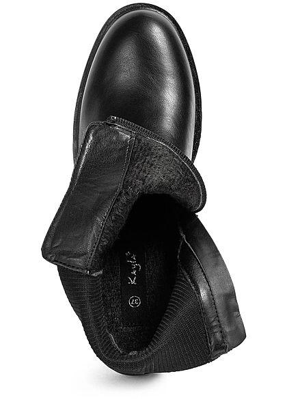 Seventyseven Lifestyle Damen Schuh Kunstleder Worker Boots Deko Nieten Zipper schwarz
