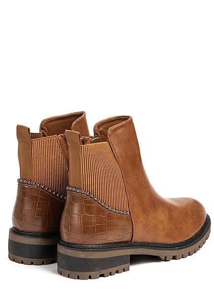 Seventyseven Lifestyle Damen Schuh Kunstleder Worker Boots Deko Nieten Zipper camel braun