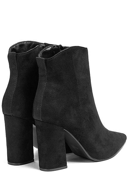 Seventyseven Lifestyle Damen Schuh Stiefelette Velour Optik Absatz 9cm Zipper schwarz