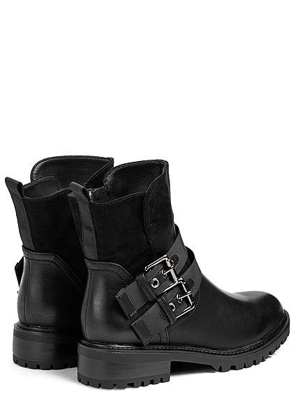 Seventyseven Lifestyle Damen Schuh Kunstleder Worker Boots 2 Deko Schnallen schwarz