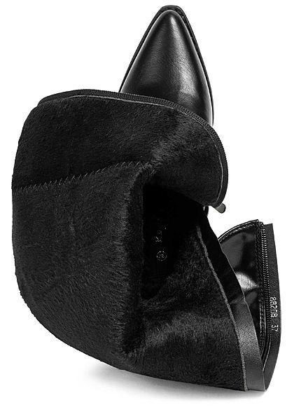 Seventyseven Lifestyle Damen Schuh Kunstleder Stiefel Spitz Absatz 6cm Zipper schwarz