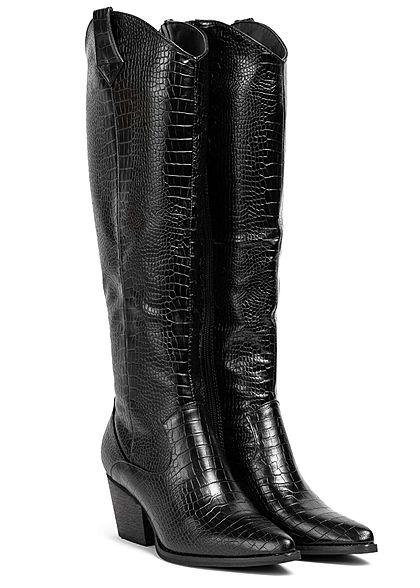 Seventyseven Lifestyle Damen Schuh Kunstleder Stiefel Spitz Absatz 6cm Snake Optik schwarz