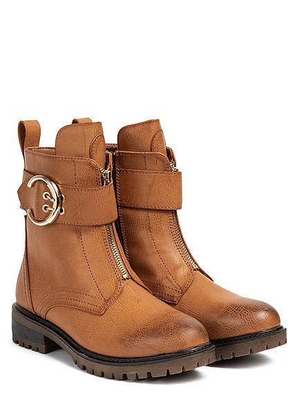Seventyseven Lifestyle Damen Schuh Kunstleder Worker Boots Deko Schnalle & Zipper camel