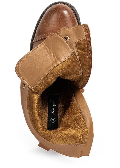 Seventyseven Lifestyle Damen Schuh Schnürstiefelette Absatz 4cm Zipper seitlch camel braun