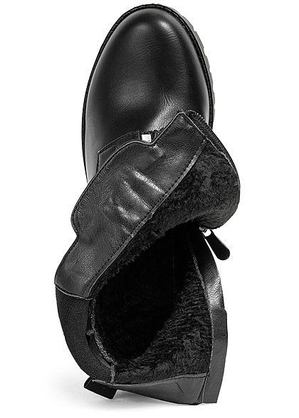 Seventyseven Lifestyle Damen Schuh Kunstleder Stiefelette Deko Zipper Absatz 7cm schwarz