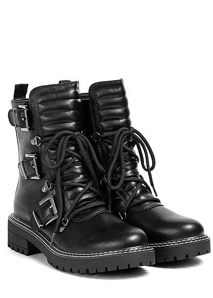 Seventyseven Lifestyle Damen Schuh Halbschnürstiefel Biker Boots Deko Schnallen schwarz