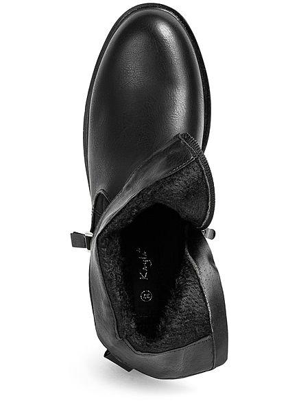 Seventyseven Lifestyle Damen Schuh Kunstleder Worker Boots Deko Zipper Snake Look schwarz