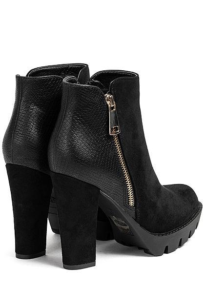 Seventyseven Lifestyle Damen Schuh Kunstleder Stiletto Deko Zipper Absatz 11cm schwarz