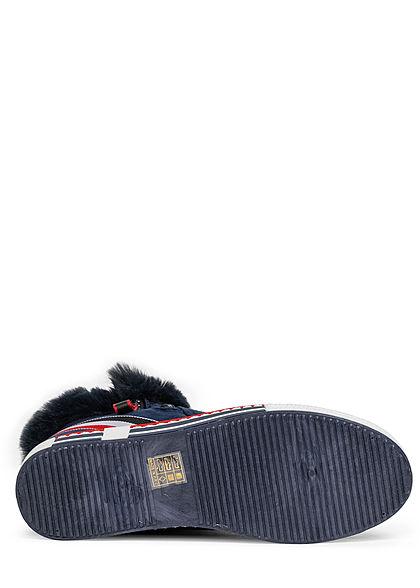 Seventyseven Lifestyle Damen Schuh Kunstleder Winter Plüsch Boots Love Frontpatch blau