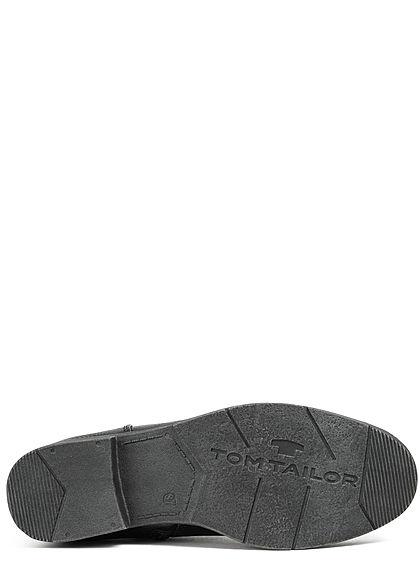 Tom Tailor Damen Schuh kurzer Kunstleder Halbstiefel Zipper seitlich schwarz