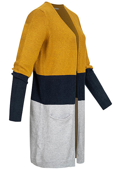 ONLY Damen NOOS Midi Colorblock Cardigan 2-Pockets chai tea gelb grau