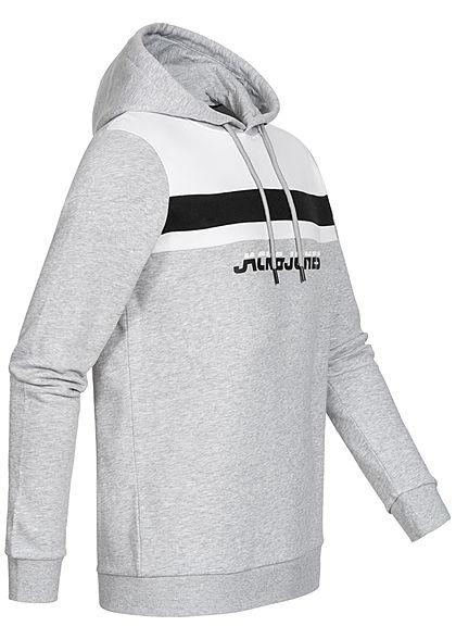 Jack and Jones Herren Sweat Hoodie Kapuze Streifen Logo Print hell grau melange