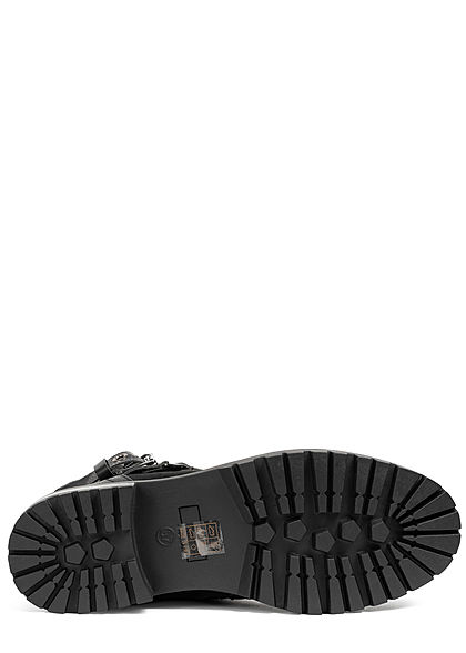 Seventyseven Lifestyle Damen Schuh Materialmix Worker Boots Deko Zipper & Schnalle schwarz