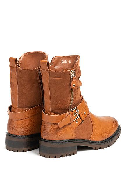 Seventyseven Lifestyle Damen Schuh Materialmix Worker Boots Deko Zipper & Schnalle camel
