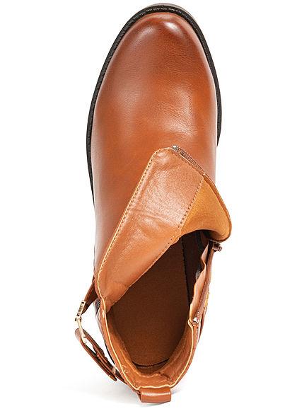 Seventyseven Lifestyle Damen Schuh Kunstleder Stiefelette Blockabsatz 6,5cm camel braun
