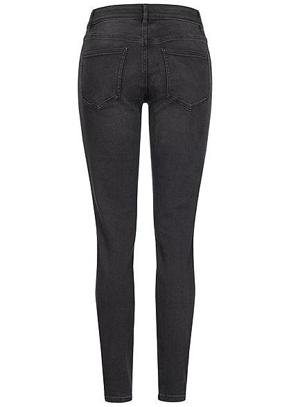 Tom Tailor Damen Skinny Jeans Hose 5-Pockets High-Waist used dark stone dunkel grau