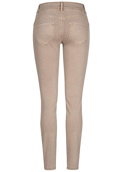 Tom Tailor Damen Skinny Jeans Hose 5-Pockets breiter Bund Regular Waist dusty taupe
