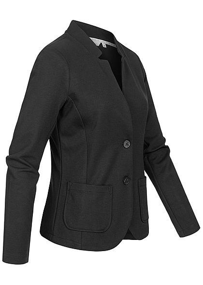Tom Tailor Damen Ottoman Struktur Blazer 2-Pockets Knopfleiste deep schwarz