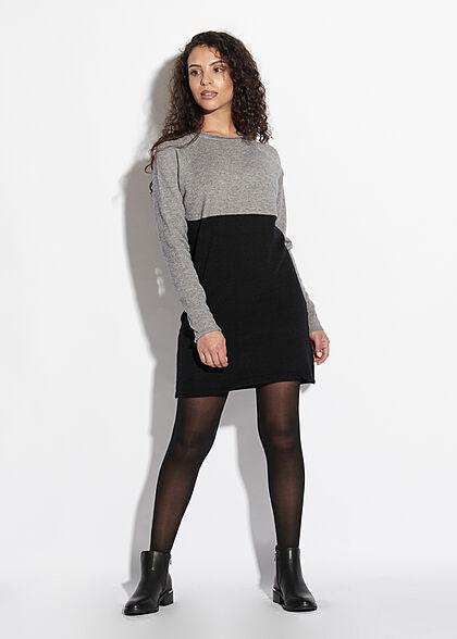ONLY Damen NOOS 2-Tone Mini Strickkleid medium grau schwarz