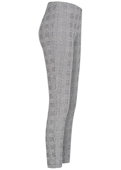 ONLY Damen Stoffhose Leggings Zipper seitlich Karo Muster cloud dancer weiss schwarz