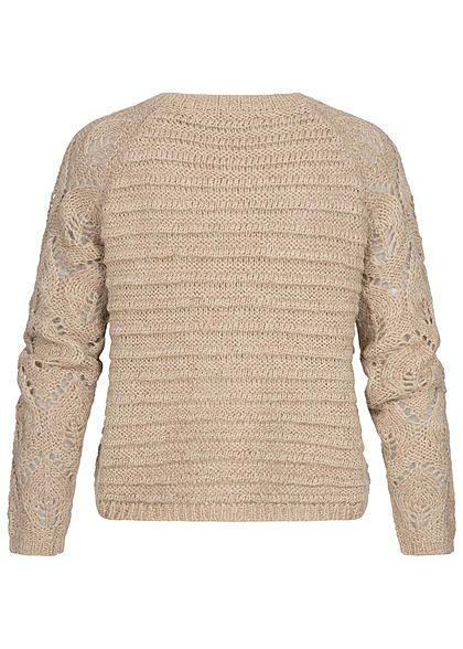 ONLY Damen Grobstrick Pullover Struktur Streifen Muster Rippbündchen humus beige