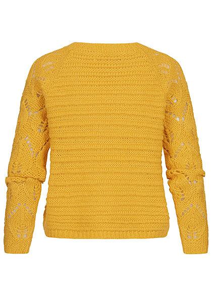 ONLY Damen Grobstrick Pullover Struktur Streifen Muster Rippbündchen spicy mustard