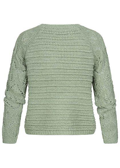 ONLY Damen Grobstrick Pullover Struktur Streifen Muster Rippbündchen jadeite grün